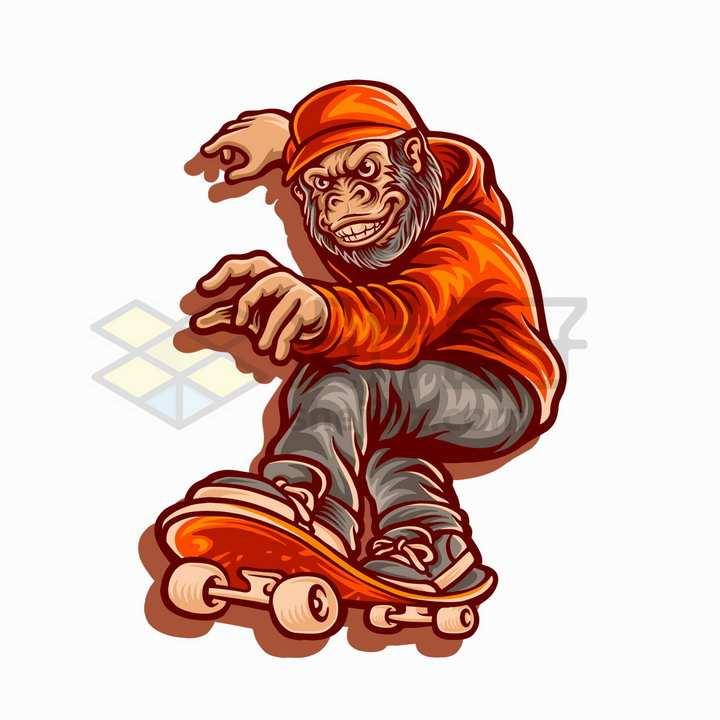 大猩猩玩滑板抽象插画png图片免抠矢量素材