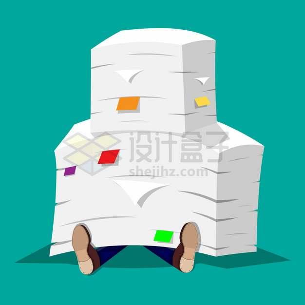 被文件压倒在地上象征了繁重的工作任务职场办公室文化扁平插画png图片素材