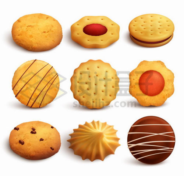 9款美味的曲奇饼干零食png图片免抠矢量素材