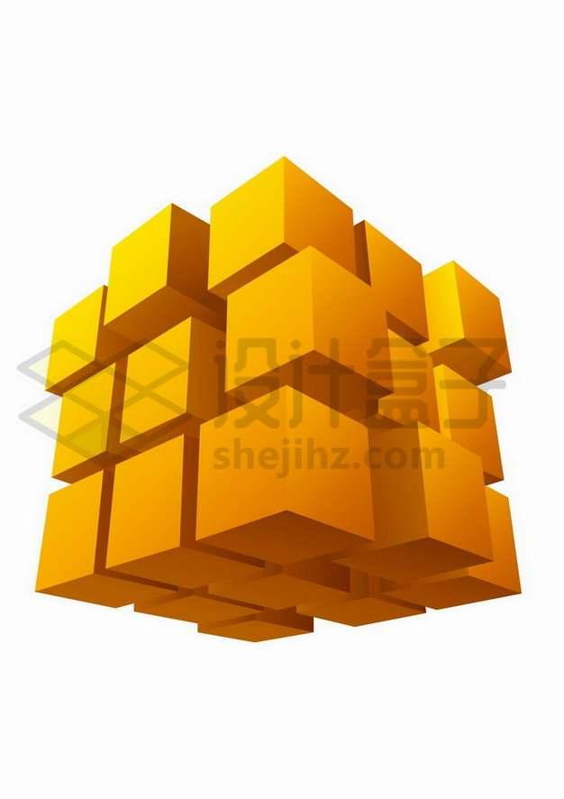 错位的橙色立方体矩阵魔方png图片免抠矢量素材
