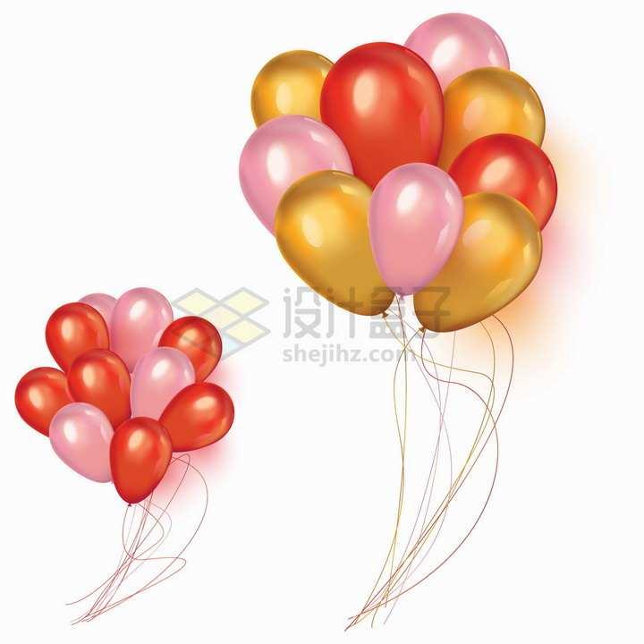 逼真的红色粉色和橙色气球png图片免抠矢量素材
