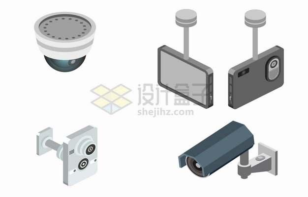 4款摄像头监控设备车载记录仪安全警报系统png图片素材
