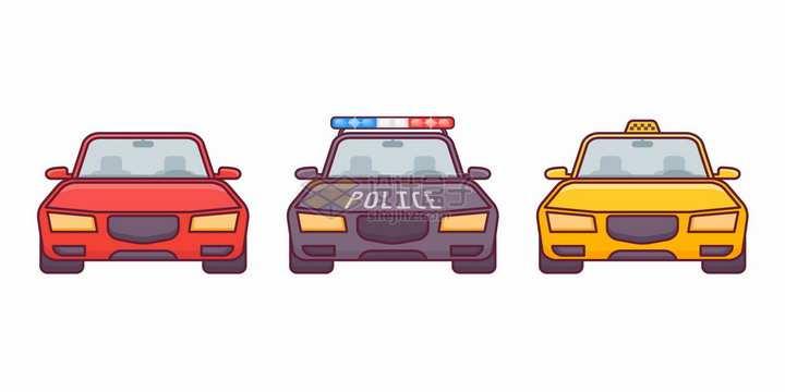 卡通汽车警车出租车正面图png图片素材