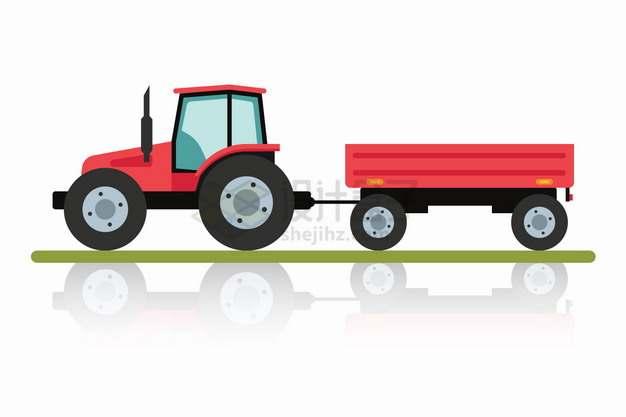 红色的拖拉机拖着挂斗拖车png图片素材