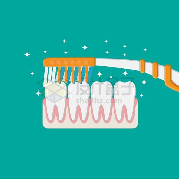 牙刷在牙齿上刷牙牙齿保健扁平插画png图片素材