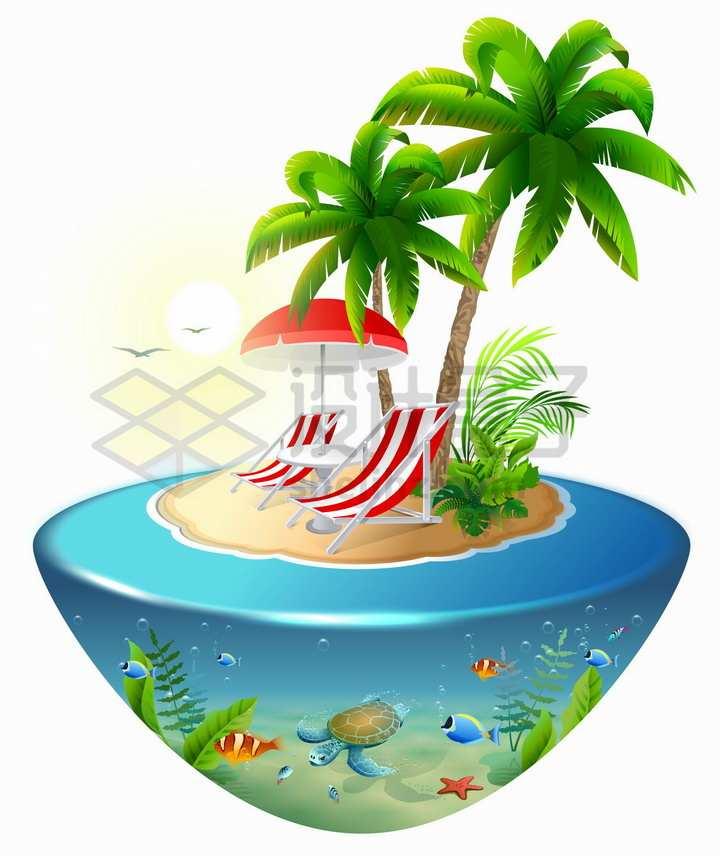 悬空岛风格热带海岛上的椰树躺椅和海水里的海龟珊瑚礁鱼类png图片免抠矢量素材