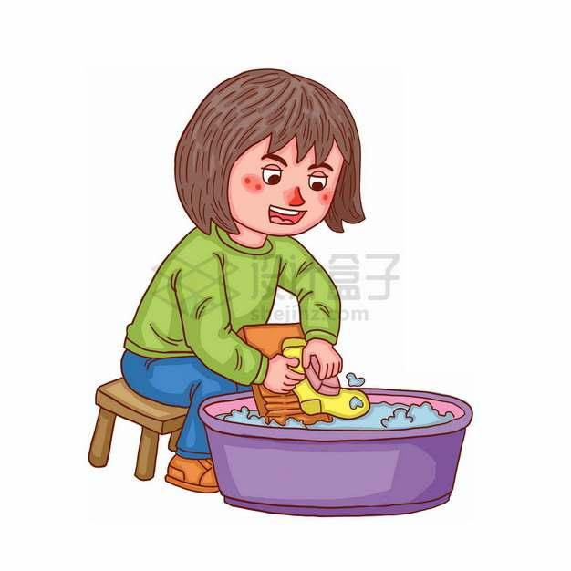 卡通女孩用搓衣板洗衣服彩绘插画png图片素材