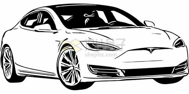 特斯拉Model 3电动汽车手绘插画png图片素材