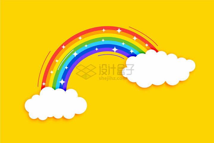在卡通白云上的七彩虹png图片免抠矢量素材