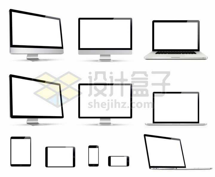 白色屏幕的电脑显示器笔记本电脑平板电脑和智能手机苹果全家桶png图片免抠矢量素材