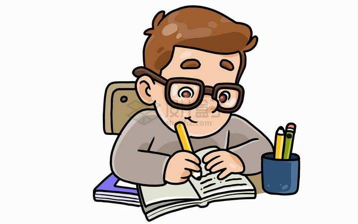 卡通学生正在认真学习儿童插画png图片免抠矢量素材