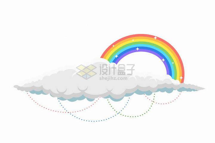 白云上的七彩虹和虚线装饰png图片免抠矢量素材