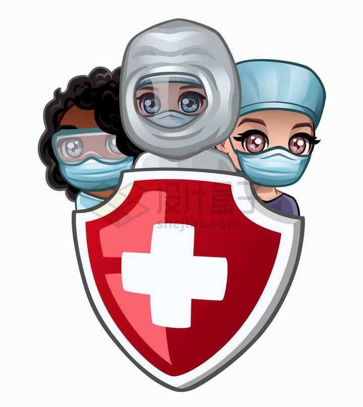 躲在红十字防护盾后面的卡通医护人员医生png图片免抠矢量素材