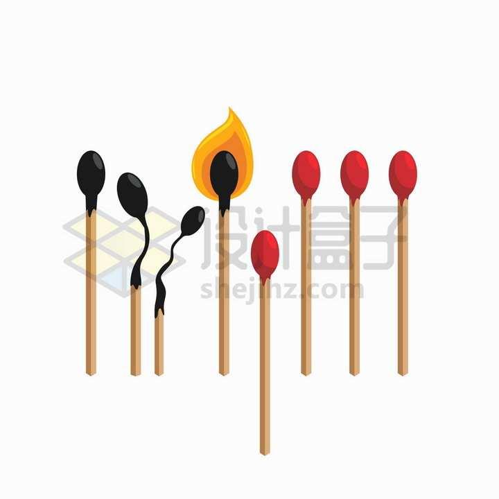燃烧成灰烬的火柴棒png图片免抠矢量素材