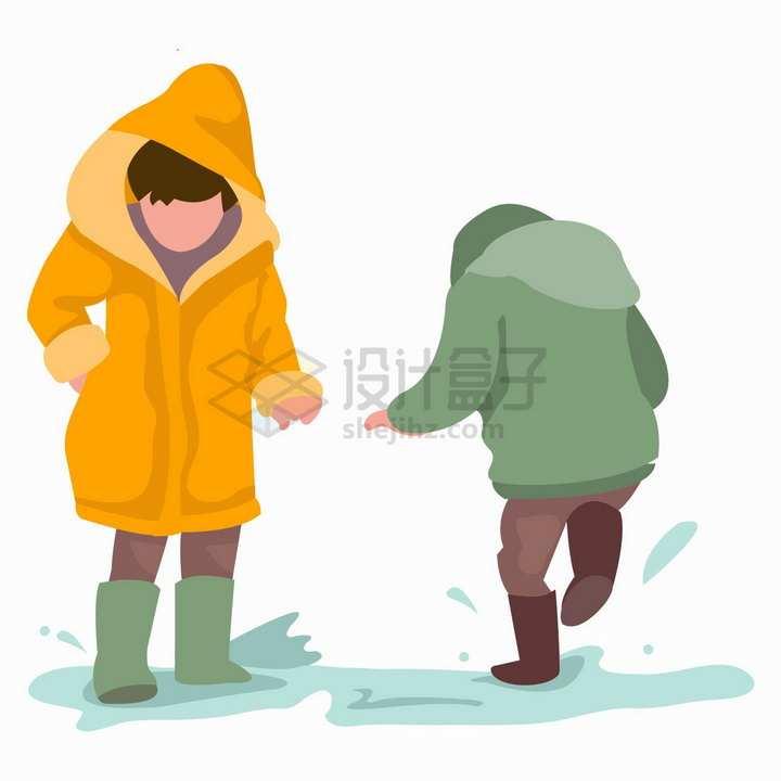 两个下雨天在水坑里踩水玩的雨衣孩子扁平插画png图片免抠矢量素材