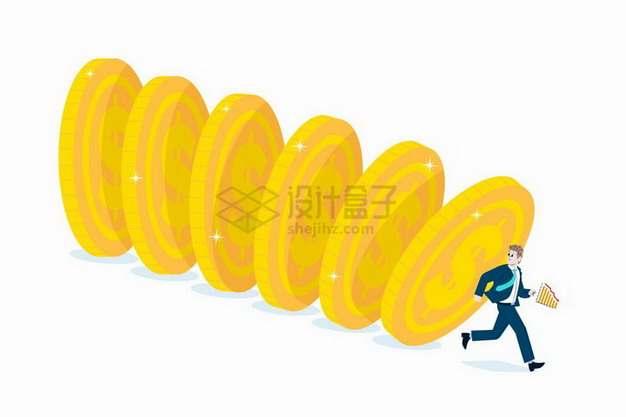 倒地的金币快要压倒卡通商务人士象征了经济危机png图片免抠矢量素材