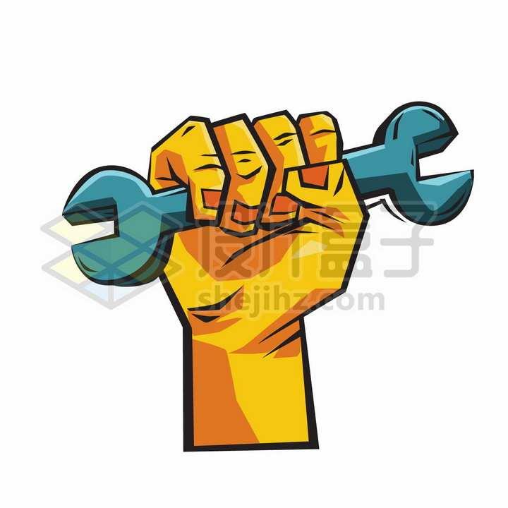 五一劳动节握住扳手的拳头漫画插画png图片免抠矢量素材