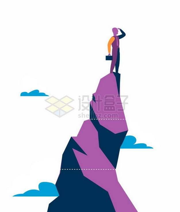 扁平插画风格站在山顶张望的商务人士象征了成功人士png图片免抠矢量素材