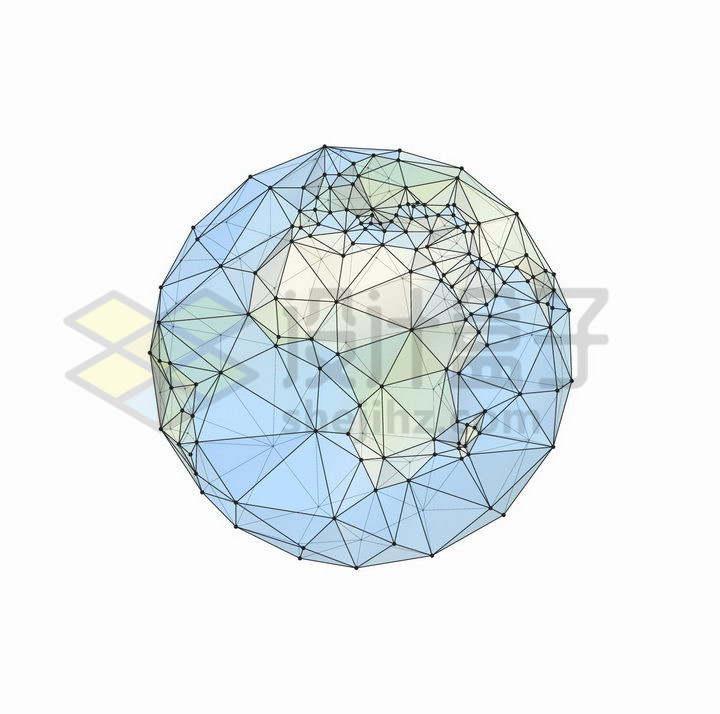 点线多边形组成的地球png图片免抠矢量素材