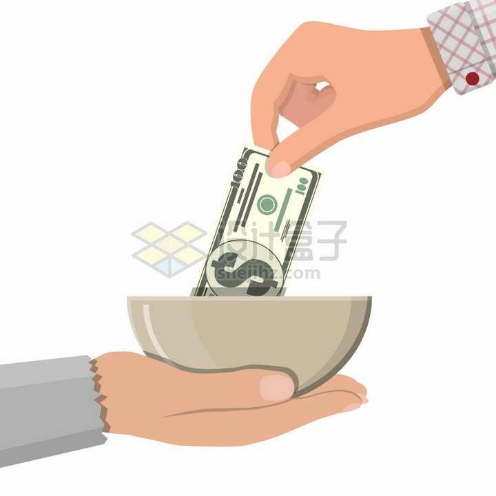 往乞丐碗里放美元钞票施舍png图片素材