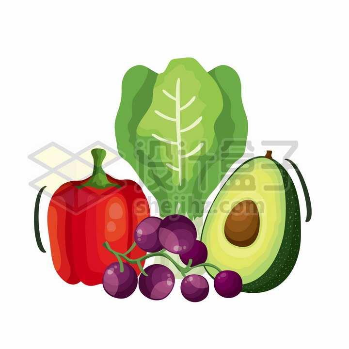 灯笼椒生菜牛油果葡萄等美味蔬菜水果插画png图片免抠矢量素材