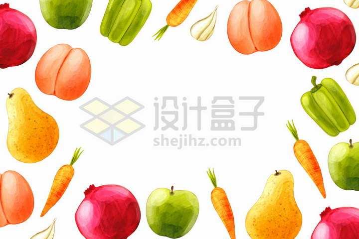 桃子苹果胡萝卜大蒜石榴香梨等美味水果蔬菜背景装饰png图片免抠矢量素材