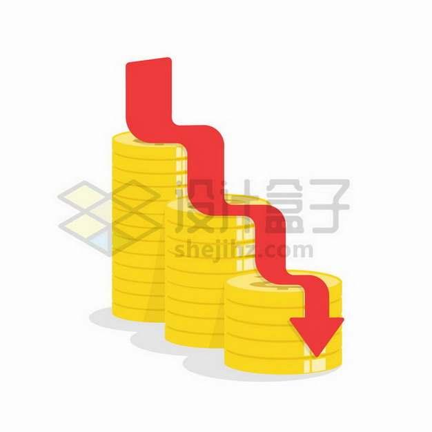 卡通金币和下跌箭头象征了投资风险金融危机png图片免抠矢量素材