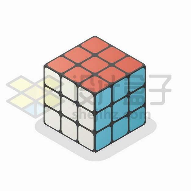 彩色三阶魔方立方体图案png图片免抠矢量素材
