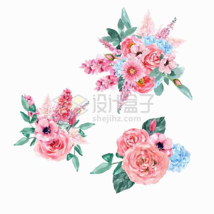 盛开的牡丹花粉红色花束花朵鲜花水彩画花卉png图片免抠矢量素材