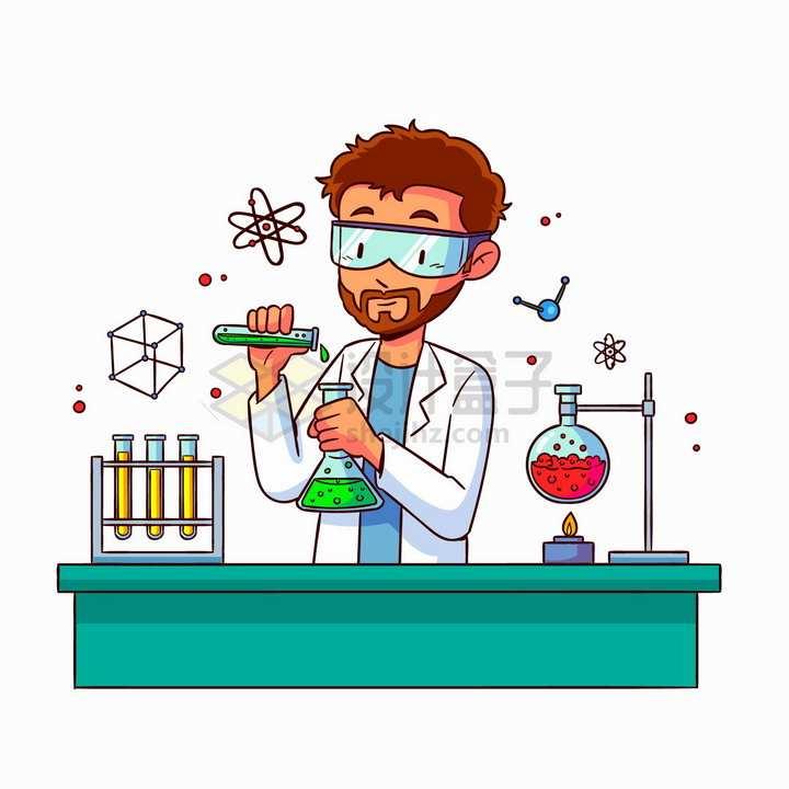 戴着护目镜的科学家使用化学实验仪器手绘插画png图片免抠矢量素材