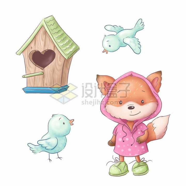 卡通木制鸟窝小鸟和小狐狸水彩插画png图片素材