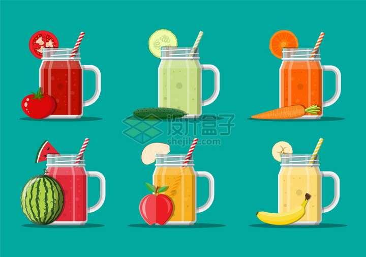 番茄汁黄瓜汁胡萝卜汁西瓜汁苹果汁香蕉汁等美味果汁png图片素材