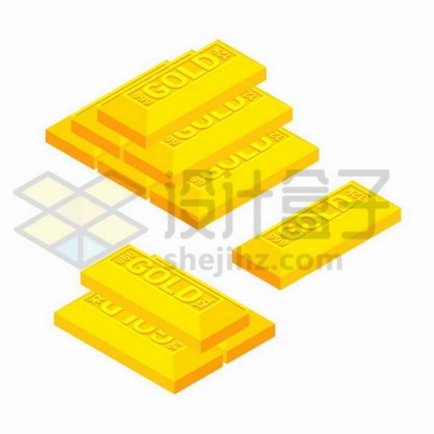 纯金黄金金块堆金砖png图片免抠矢量素材