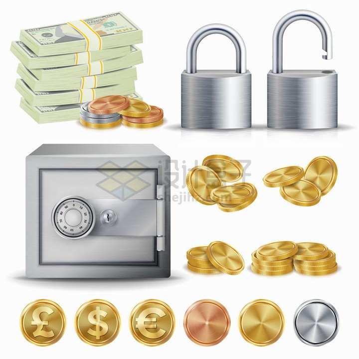 逼真的美元钞票挂锁保险柜金币等png图片免抠矢量素材