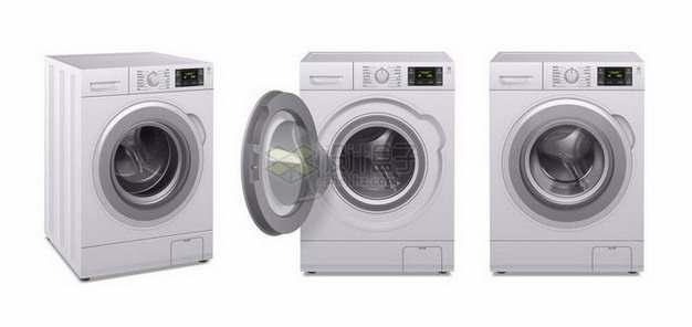 3个不同角度的滚筒洗衣机家用电器png图片免抠矢量素材