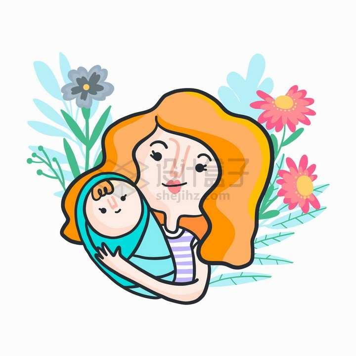 妈妈抱着孩子母亲节抽象插画png图片免抠矢量素材