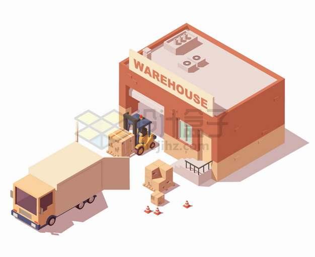 2.5D风格从仓库搬运货物的叉车和卡车png图片素材
