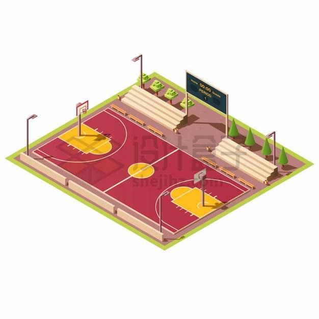 2.5D风格篮球球场体育比赛场地png图片素材
