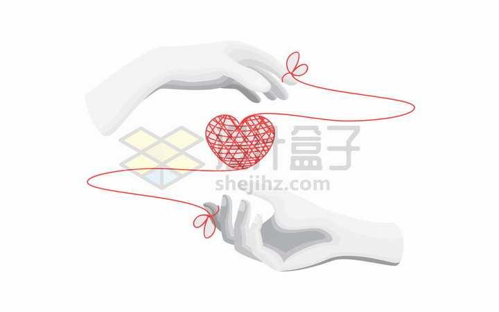 两只手和红线组成的心形图案象征了情人节爱情png图片免抠矢量素材