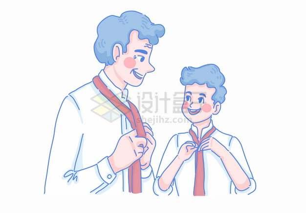 卡通爸爸教儿子打领带父亲节亲子关系彩绘插画png图片素材
