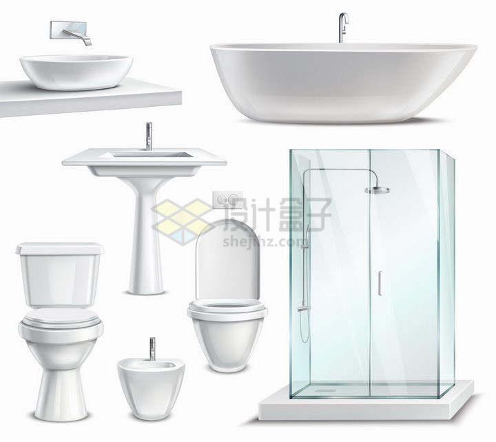 逼真的洗手池抽水马桶淋浴间和浴缸等卫生间设施png图片免抠矢量素材