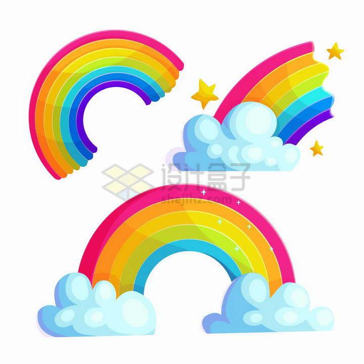 3款卡通风格七彩虹和白云星星png图片免抠矢量素材