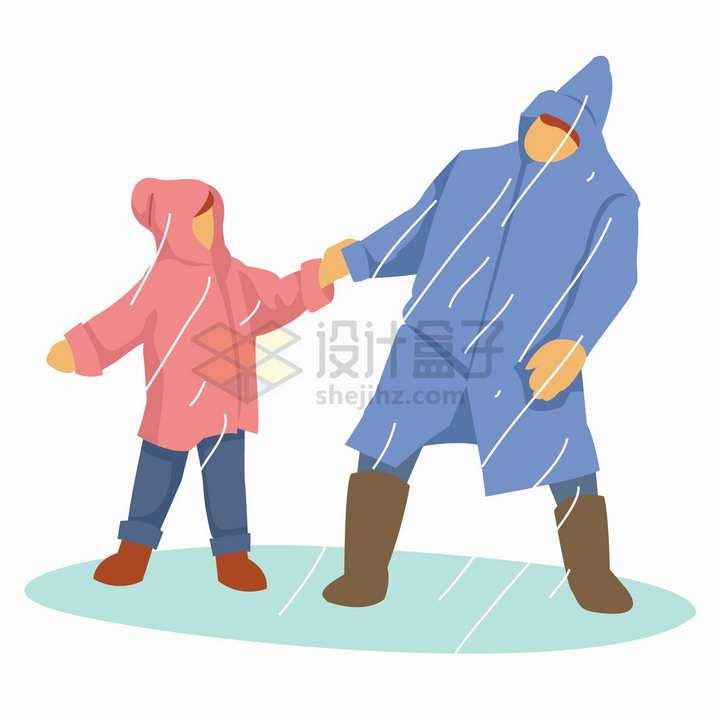 下雨天牵着孩子的雨衣爸爸扁平插画png图片免抠矢量素材
