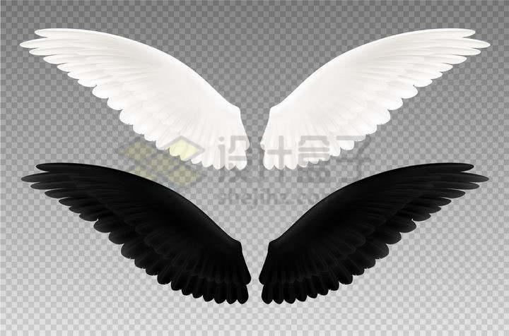 两对白色和黑色的翅膀png图片免抠矢量素材