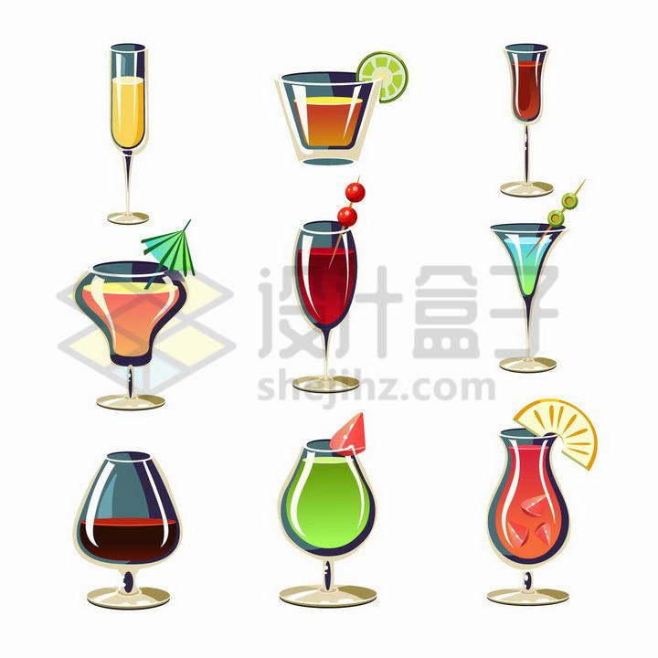 9款卡通风格红酒葡萄酒鸡尾酒等饮料png图片免抠矢量素材