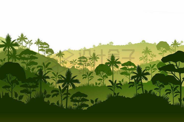 大山中的热带雨林剪影png图片免抠矢量素材