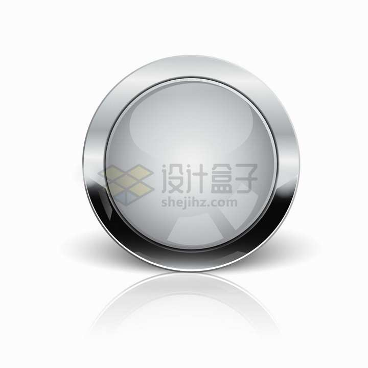 金属银色边框的灰色圆形水晶按钮png图片素材