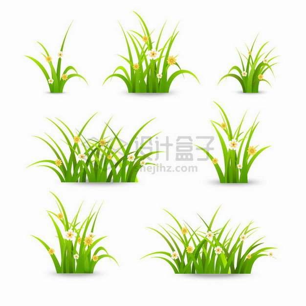 7款一小撮盛开了鲜花的青草丛自然装饰png图片免抠矢量素材
