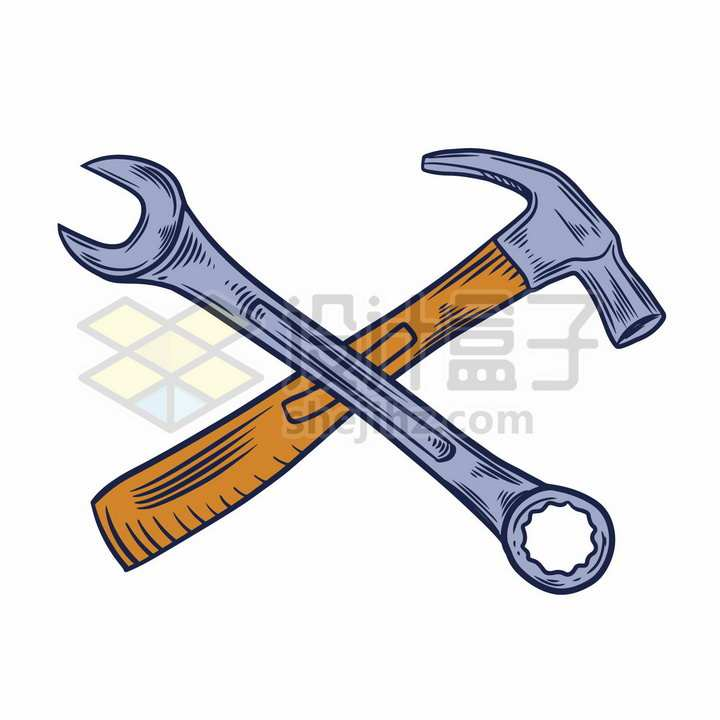 手绘风格扳手和榔头交叉象征了五一劳动节png图片免抠矢量素材