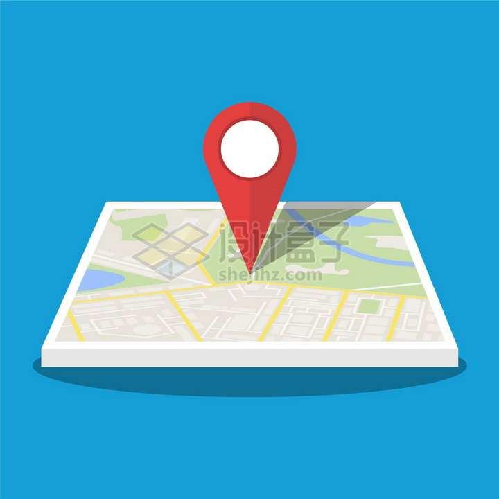 平面地图上的红色定位标志png图片素材